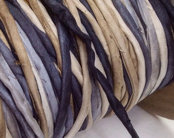 3mm hand rolled silk string/ cord hand dyed in Stonehaven Colorway