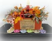 Harvest Memories lighted Fall floral arrangement