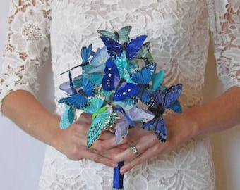 Blue & Teal Butterfly Bouquet for your Wedding. Avaliable in Two Sizes, you pick!!