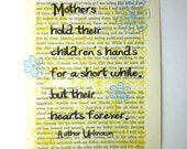 Mother print on a book page, Mother's hold their children's hands