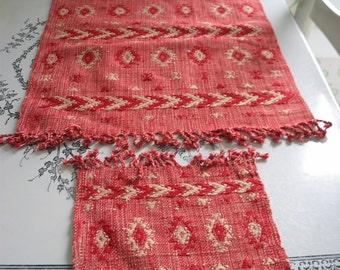 Woven Placemats and Napkins Unique Bright Red and White Very Cool Pattern Set of 6
