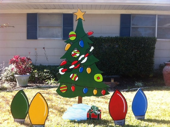 Christmas Light Bulb Holiday Wooden Yard Art By