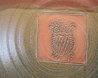 Handmade Ceramic Owl Serving Platter - Stamped Bowl - Redwood and Antique Blue