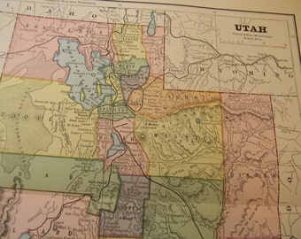 1883 State Map Utah - Vintage Antique Map Great for Framing 100 Years Old