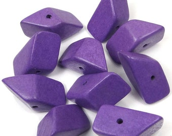 24x14mm Hedron Geometric Lavender Purpl Wood Polyhedron Figure Solid  Beads (10) (6885)