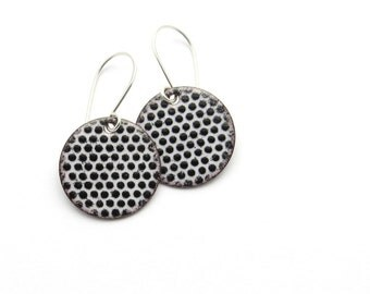 Black and White Earrings, Round Enamel Earrings, Polka Dot Jewelry, Dangle Earrings, Copper and Sterling Silver