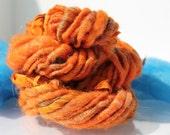 Handspun Art Yarn 'Harvest Orange' wrap Yarn