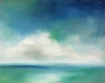 "Beach artwork, modern landscape, ocean painting, turquoise, seascape ""Blue Green Sea I"" 8x10"