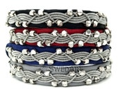 """SwedArt B111 Icy River Lapland Sami Reindeer Bracelet with Handmade Faceted Solid Silver Beads Pewter Button 3/8"""" Wide Navy Blue X- SMALL"""