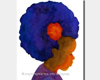 Afro Silhouette with Flower 8x10 art print