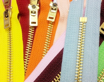 9 Inch Jeans Zipper YKK #5 Brass With Locking Slider Closed Bottom Select Color