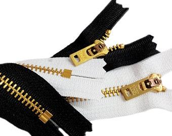 Ten 7 Inch Black and White Jeans Zipper YKK #5 Brass With Locking Slider Closed Bottom 5-black 5- white