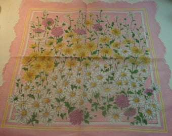 Vintage Hankie  Flower Garden of Daisys - white and yellow