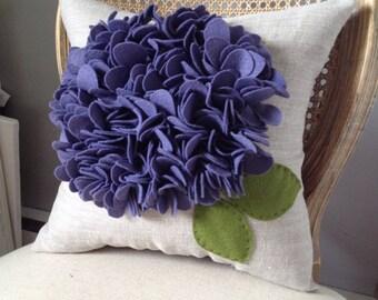 Purple Ruffle Flower Pillow- in Eggplant Purple on Oatmeal Linen