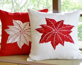 Decorative Pillow Cover, Throw Pillow Cover, Couch Pillow, White Red Linen Poinsettia Embroidery, Pillow Case, Accent Pillow, Cushion