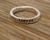 Handmade by me- ONE large size fine silver stacking ring- hand stamped 4mm- made to order- custom  jewelry stacker ring sizes 6-12 only