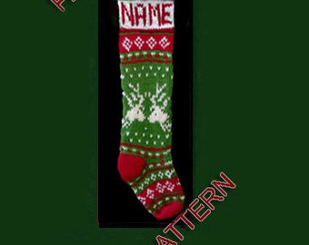 Hand knit Christmas stocking,  pattern only, reindeer with green setting and snowflake