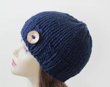 Chunky Knit Hat Winter Hat Chunky Knit Beanie Womens Hat Teens Hat - Navy with  Button Accent  - Ready to Ship - Direct Checkout