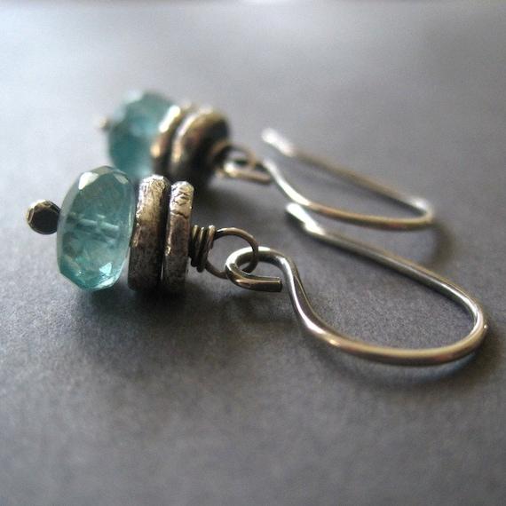 apatite earrings silver nugget handmade dangle gemstone