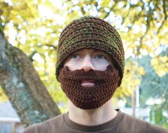 Green and Brown Mustache Bearded Beanie - Ships Free