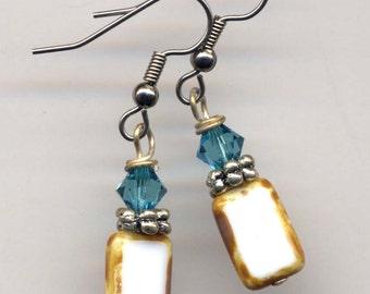 White and  Aqua Earrings Sale, Mod Surgical Steel earrings, Swarovsky and Czech Beads Earrings- Handmade by AnnaArt72