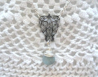Aquamarine Necklace, Hand Wrapped, Silver Filigree Connector. Silver Plated Chain. Faceted Briolette ,March Birthstone