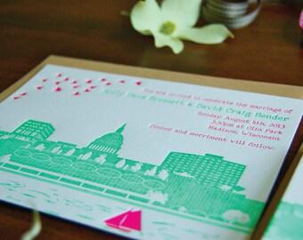 Madison - Letterpress Wedding Invitation Sample