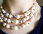 Beautiful Three Tiered Pearl and Crystal Choker Necklace