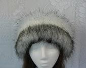 Russian Husky FAUX FUR HAT, Pillbox Black Fleece, Women's Winter Hat, Fur Hat