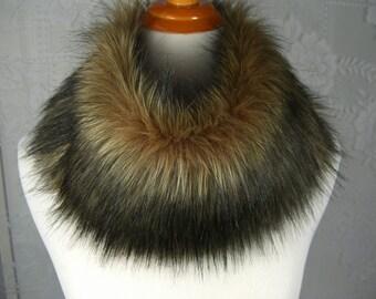 Faux Fur NECKWARMER Scarf, Fox Black Tip Faux Fur Neckpiece, Fur Collar, Women's Circular Cowl with button closure