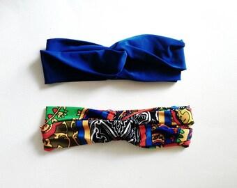 The Turban Headband- Royal Blue and Boho Print