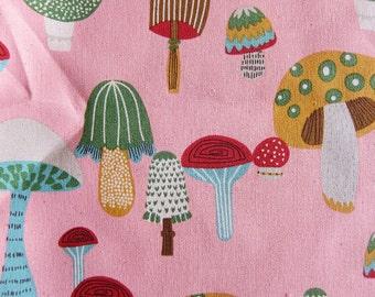 Wild Mushroom on Pink - Kawaii Cotton Fabric - Half Yard