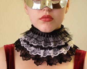 "Victorian Vampire Black & White Collar ""Domino"" READY TO SHIP"