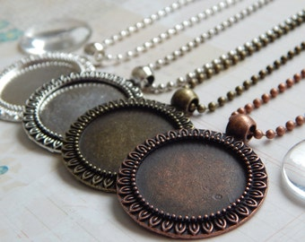 10 Pendant Kits 1 inch / 25mm Round Sunflower Edge Trays with Matching Glass and Ball Chains Choice of Colors