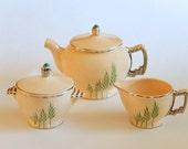 Art Deco Leigh Ware Teaset: Green Wheat Teapot, Cream & Sugar, Set of 4 Cups w/ Saucers, Ultra Moderne Shape