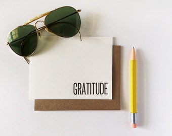 6 Gratitude Note Cards Letterpress Printed Thank You Flat for Graduation Everyday