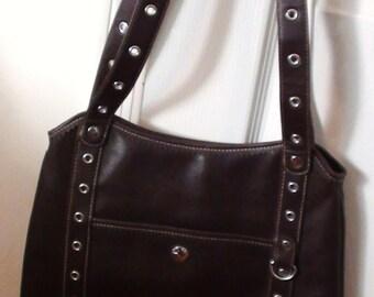 VINTAGE 1990s Shoulder Bag Handbag  Brown  with lots of Room Practical Brand Name Bonjour