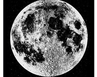 Moon Print - Moon Art Print - Large Silver Moon print - Wall Art - Space Art - Astronomy Print - Silver Moon - Wall Decor - Home Decor