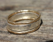 14K Gold and Sterling Silver Rings, Wedding Band