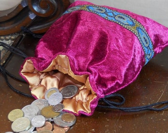 Cranberry Red Velvet Drawstring Coin Purse - Gaming Dice Bag - Jewelery Pouch - Renaissance, SCA, LARP, Medieval - Regency Reticule