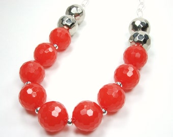 English Red Collection - Bright Red Faceted Large Beaded Necklace - Bold Single Layer Statement Red Necklace - Chunky Fashion Necklace