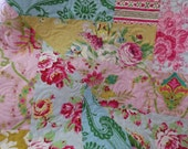 Chevron  Quilt with Jennifer Paganelli Fabrics Roses Pink Red Yellow  Damask Baby Size