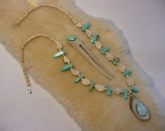 White Tail Antler Shed and Turquoise Necklace