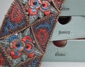 Vintage 1920s Embroidered Trim Antique Art Deco Floral Braid 20s autumnal colours embroidery