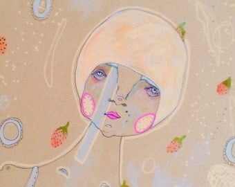 Lucy the Water Acrobat - limited a3 print on eco-linen stock