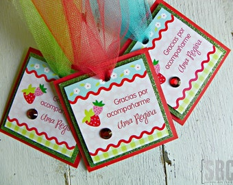 Strawberry Favor Tags...Set of Strawberry Square Favor Tags