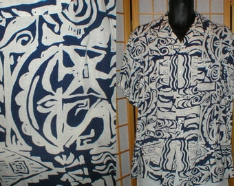 60s blue and white abstract print rayon camp shirt mens size large