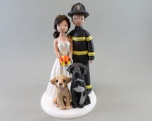 Bride & Firefighter Groom With Dogs Personalized Wedding Cake Topper