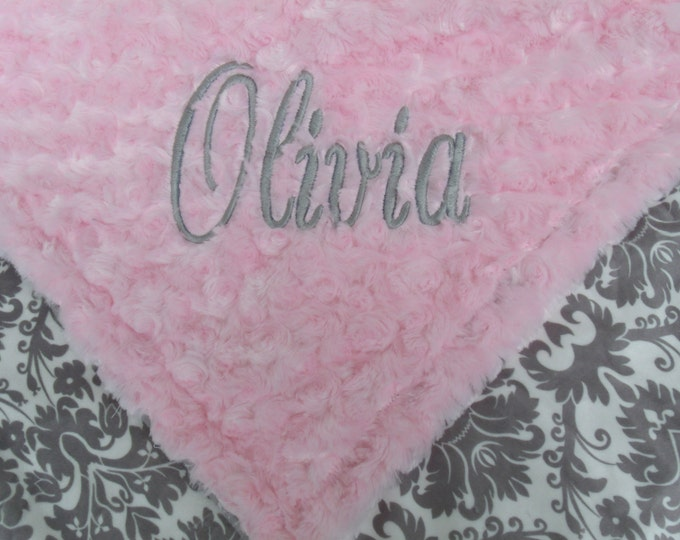 Personalized Blanket, Pink Gray Blanket, Minky Baby Blanket, Pink Gray Damask, Swaddle Blanket, Gray Damask Bedding, Embroidered Blanket
