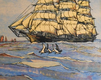 Clipper Ship Nautical print, 1936 Vintage Wood Engraving - Twilight